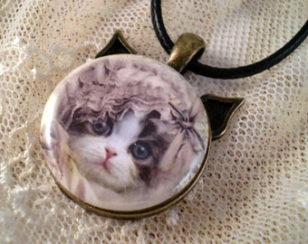 Cat Necklace Pendant Gift for Her Cat Lovers Gift Kitty in Lace Pendant Tray Permission of Jeff Haynie Can Be Customized
