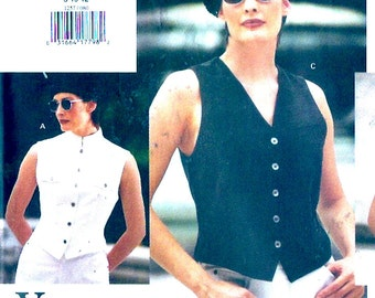 DKNY Designer Vest Vintage 90s summer casual chic style sewing pattern Modern Fashion Vogue 1257 Bust 31 to 34 UNCUT
