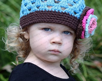 """Beanie Hat Crocheted """"The Lainey"""" Robin's Egg Blue Chocolate Rose Pink"""