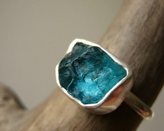Rough -Raw- Apatite Ring - in Sterling Silver - Medium size- Custom - Choose your stone and your Size - Last two stones!