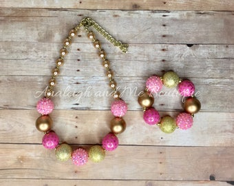 Pink and Gold Chunky Necklace, Girls Pink and Gold Necklace, Toddler Necklace, Chunky Bead Necklace, Pink and Gold,  Pink and Gol