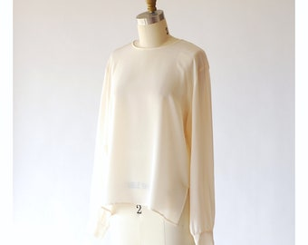vintage white silk blouse / size small