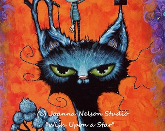ORIGINAL Painting Joanna Nelson Black Cat alien star Fantasy Fine Art Large Goth Fairy Tale Acrylic Gothic astral space halloween