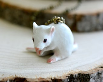 Hand Painted Porcelain White Mouse Necklace, Antique Bronze Chain, Vintage Style Albino Rat, Ceramic Animal Pendant & Chain (CA036)