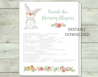 Finish the Nursery Rhymes Game, Baby Shower Game, White Bunny, Bunny Baby Shower, Spring Baby Shower, Flowers, Floral, Printable No. IN1014