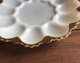 milk glass deviled egg plate by Anchor Hocking, 1950s, gold rim