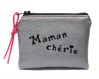 personalized MOM wallet imitation leather, silver, mothers, fabric, women gift, gift for her little case