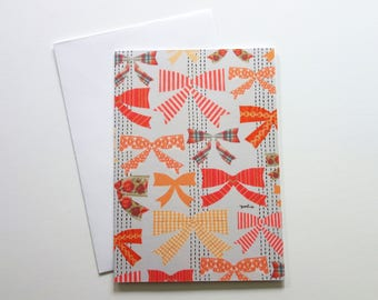 Ribbon collage - A6 blank note card - Illustrated by YOSHIE