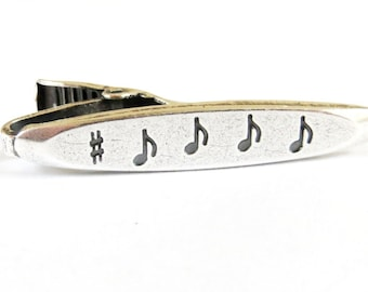 Music Note Tie Bar Music Tie Clip Sterling Silver and Brass Finish Gifts For Men Gifts For Dad