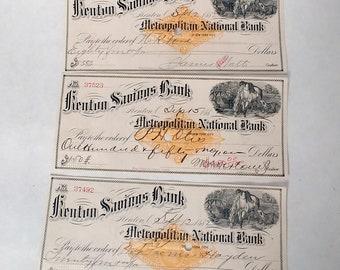 1882 Kenton Savings Bank Checks, Set of three Antique Bank Drafts, Ephemera