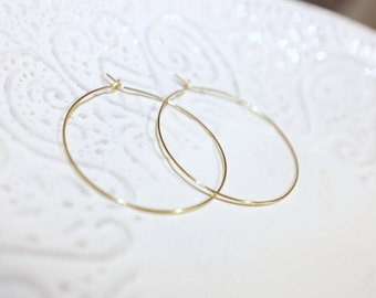 Gold Hoop Earrings / Medium, Thin, Gold Filled, Simple and Delicate / Anabel Nove