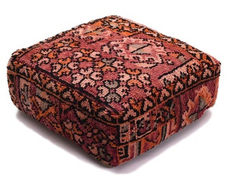 Moroccan Pouf, Floor Cushion, Berber Kilim Pouf Ottoman, Floor Pillow, Foot Stool, Refashioned from a Vintage Berber Rug. PVR047