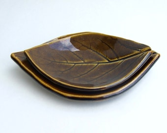 Hand Built Leaf Plates, Nested,  Persimmon, Turkish Amber