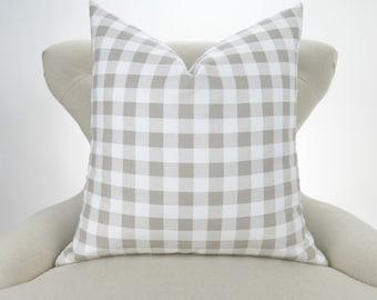 Ecru Plaid Pillow Cover -MANY SIZES- Check Pattern, Gingham Print Pillow, Euro Sham, Off-White Decorative Throw, Ecru Buffalo Premier Prints
