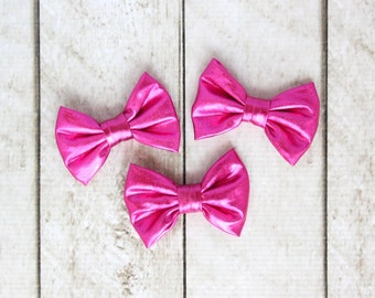 "Set of 3 Shiny Metallic Hot Pink Bows - 3"" inch bows - Shiny Headband Bows - Metallic Headband Bows - For DIY Headbands & Accessories"