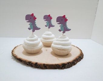 Dinosaur Girl T-Rex Cupcake Toppers - Set of 12 - Purple and Blue