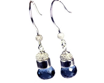 Earrings Elegance – Sapphire Blue – Hydro Quartz – Sterling Silver – 643