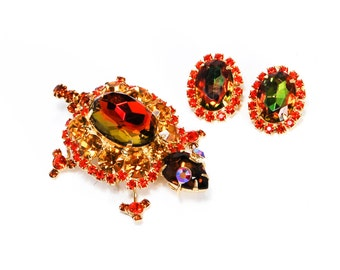 Juliana Turtle Tortoise Amber Rhinestones Brooch and Earring Set Demi Parure Fall Autumn Colors Book Piece