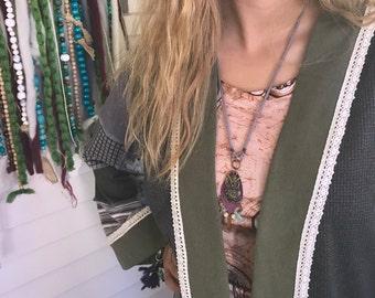 Owl charm Necklace, leather necklace,long necklace, hippie necklace, zen necklace, tribal necklace, jasper, howlite, aventurine charm Zasra
