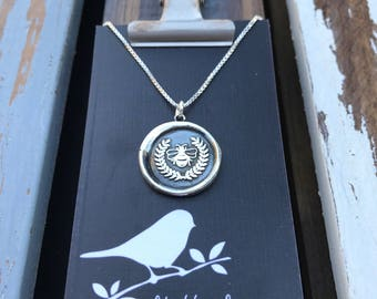 Queen Bee Silver Wax Seal Stamp Necklace