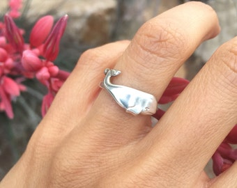 Wondrous Whale Ring Sterling Silver