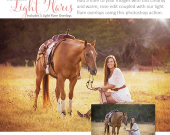 Photoshop Action   Overlays - Warm Rose Light Flares - Photography Editing Made Easy With This One (atn) Action to Install on Your Computer.