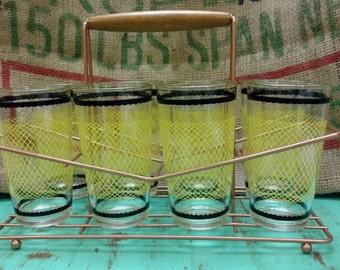 Vintage Retro Fishnet Style 8 piece Tumbler Set with Caddy