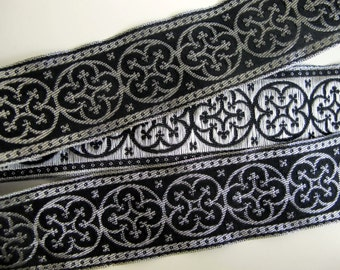 BYZANTINE, 2 yards Jacquard trim in metallic antique silver on black. 1 5/8 inch wide. 958-A Fine brocade trim