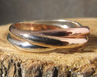 Tri Color Rolling Ring, 14k rose and yellow gold-filled and argentium sterling fidget ring