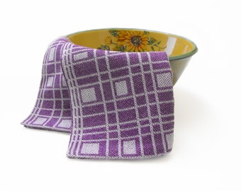 Handwoven Purple Tea Towel, Purple and White Tea Towel, Hand Woven Tea Towel, Purple Drall Tea Towel, White and Purple Kitchen Tea Towel