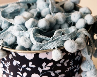 Light Blue Pom Pom Trim