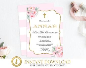 First Communion, Communion Invitation, Girl First Communion, 1st Communion, Communion Invite, Baptism Invitation, Girl Communion, Pink
