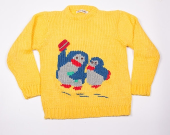Vintage 90s Yellow Knit Penguin Print Cartoon Sweater