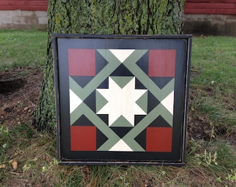 PriMiTiVe Hand-Painted Barn Quilt, Small Frame 2' x 2' - Magic Carpet Pattern (Dark Sage Version)