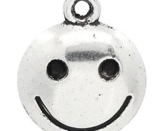 Set of 5 face smiling 17x14mm charm pendants