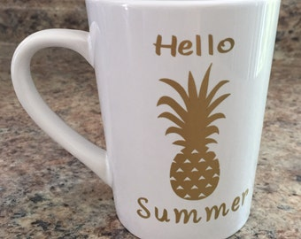 Hello Summer pineapple coffee mug white permant vinyl