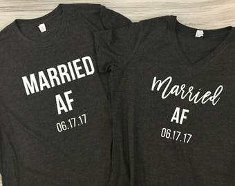 Married AF - Husband and Wife Shirt Set - Just Married shirt set - Wedding gift - Bridal shower gift - Honeymoon shirts