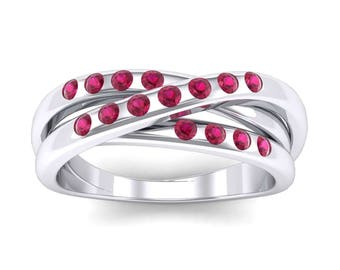 Rolling Band Ring, Triple Band Ring, Band Ring, Rolling Ruby, Band Ruby Ring, Wedding Ring, Ruby Ring, Gift For Her