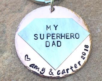 My Superhero Dad, Fathers Day Gift, Husband Gift, you are my hero, Batman keychain, Boyfriend Gift, gifts for men, natashaaloha