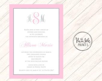 Monogram Invitation, Rehearsal Dinner Invitation, Pink Monogram Invitation, Monogram Wedding Invite, Monogram Printable