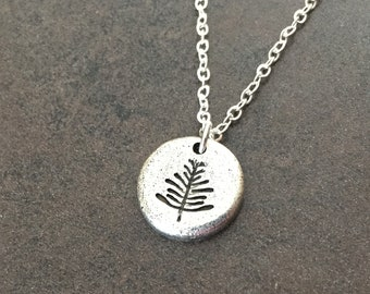 Pine Tree Necklace, Stamped Necklace, Evergreen Tree Charm, Outdoor Enthusiast, Leaf Peeper Necklace, Nature, Woods, Forest, Gift for Her
