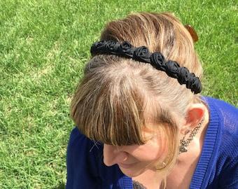 Headband Stretching Fabric black Rosettes, Black Rhinestone, Black Satin Fabric Braided with Rhinestones  option