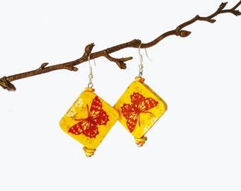 Butterfly wooden earrings, Yellow spring earrings, Eco-friendly earrings, Dangle coctail earrings, Butterfly motif earrings, Gift for her