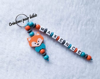 "Keychain 3D ""Fox"" with wooden beads with the name of your choice"