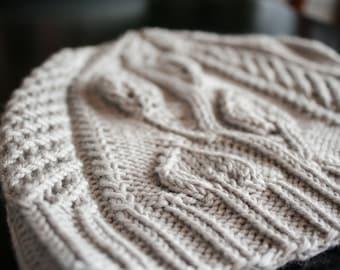 Woman's Knit Hat Pattern / Renae Hat / knit hat pattern / knitting pattern / knitting hat pattern / lace hat / eyelet hat / pdf pattern /