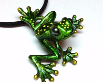 "Bronze Frog Necklace/Magnet Pin With Pearl Eyes And Silicone Rubber Cord ""Froggz Only"" Collection - ""Silazz"""