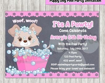 50%Off Puppy Dog, Pool Party Invitation- birthday party , dog invitation, dog party, dog birthday, Puppy Birthday, Puppy Party, Invitation