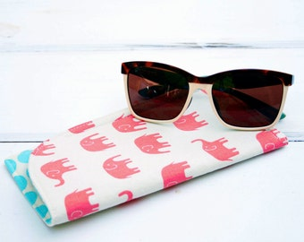 Pink Elephant Sunglass Case|Glass Sleeve|Monogrammed Cases for Oversized glasses|Funky Sunglass case|Elephants Polka Dots|Sunglass sleeves