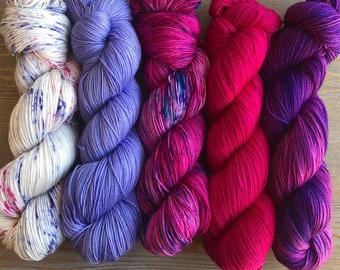 In Stock Fade Kit, Sock Weight Superwash Merino Wool, Indie Dyed, Merino/ Nylon Fading Point Kit, Shawl Yarn Kit,