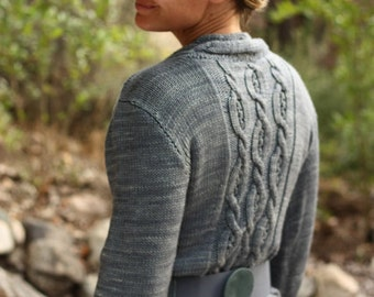 Knitting Pattern PDF - Moonshiner Cabled Cardigan Sweater